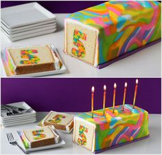Cut into this neon-colored cake to reveal a tie-dye number hiding inside.