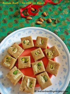 badam burfi recipe | almond burfi