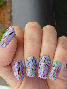 Lavendar rainbow nails