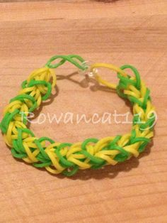 This is a diamond pattern Rainbow Loom rubber band bracelet by Rowancat119