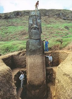 The Easter Island Heads (Moai) are actually whole bodies, just buried into the ground?