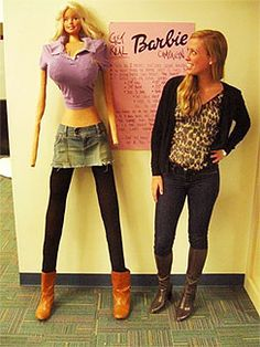 college student transfered the dimensions of barbie to make it life sized..this is crazy!!