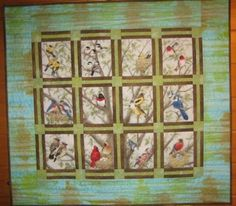 Birds of Spring, original setting for panel print, on display at Hickory Stick Quilt shop in Hannibal, MO