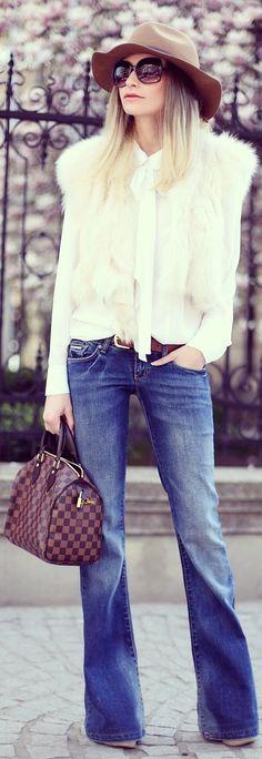 Mango Blue Denim Flared Jeans