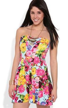 Deb Shops Strapless Light Blue Floral Print Skater Dress $35.00