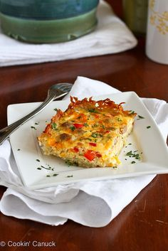 Perfect for the holidays! Skinny Sausage & Egg Breakfast Casserole | cookincanuck.com #recipe #breakfast