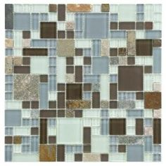 Merola Tile Tessera Versailles Tundra 11-3/4 in. x 11-3/4 in. Glass and Stone Mosaic Wall Tile