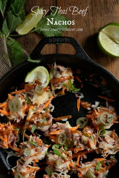 Thai Beef Nachos - www.countrycleaver.com