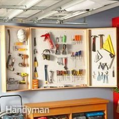 Turn 16 sq. ft. of wall space into almost 48 sq. ft. of hanging storage for tools and supplies with this easy-access pegboard storage unit.