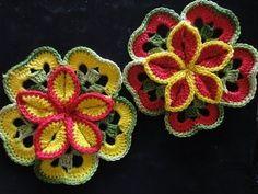 Объёмный цветок из квадратов Вязание крючком Volumetric flower of squares Crocheting