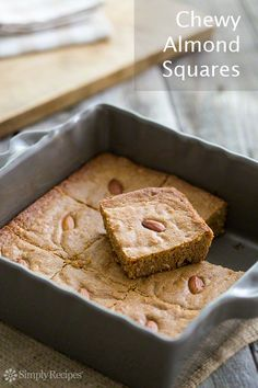 Almond blondies! Easy Chewy Almond Squares on SimplyRecipes.com. No mixer needed.