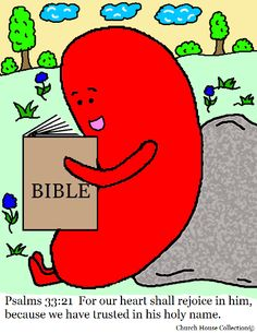 Jelly Bean Reading Bible Psalms 33:21 Coloring Page by Church House Collection©.