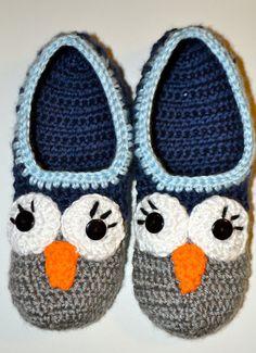 Women's Owl crochet slippers