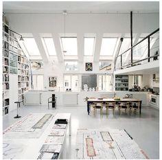 #studio #office #open plan #white #warehouse #natural light