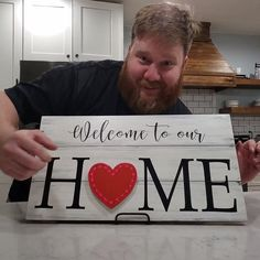 "Looking for a sign for all seasons? Search no more! This DIY ""Welcome to our HOME"" wood sign has interchangeable pieces for the O. Can be used year round. Used scroll saw to cut pieces for O. Be inspired to make your own! #DIYwoodsign #scrollsaw #HOMEsign #DIY"