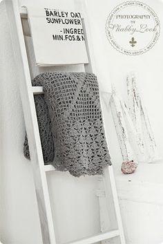crochet blankets, blanket ladder, grey blanket, grey and white crochet blanket, gray blanket, ladders, shabbi, knit blankets, bathroom