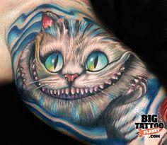 Roman Abrego - Colour Alice in Wonderland Cheshire Cat Tattoo
