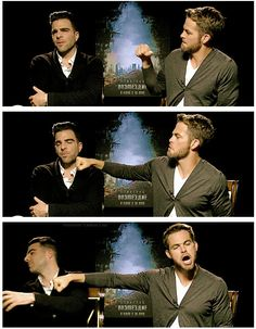 Chris Pine everyone (poor Zachary Quinto has to deal with this man haha)  (@Rachael Caffrey)