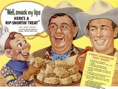 Here's a rip-snortin' treat!  Kelloggs 1950s T.V. Stars Howdy Doody, Jingles (Andy Divine)  and Wild Bill Hickock (Guy Madison)