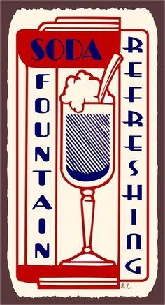 Soda Fountain Refreshing Ice Cream Soda Shop Vintage Metal Art Wall Decor Retro Tin Sign. $36.00, via Etsy.