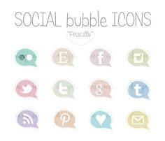 Social Networking bubble Icons 'Priscilla' by VerySimpleDesign
