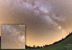 """An early Perseid for 2013. Petr Horálek photographed this Perseid streaking along the backbone of the Milky Way over Úpice, Czech republic, on August 3rd. Mona Evans, """"Meteor Shower - the Perseids"""" http://www.bellaonline.com/articles/art27461.asp"""