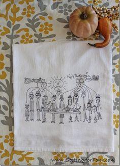 Turn Children's Art Into Thanksgiving Tea Towels from Setting for Four #Tea Towel #DIY #Thanksgiving #Kids Art