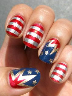 Patriotic nail art or Wonder Woman