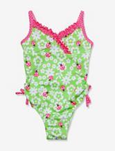 Penelope Mack Green & Pink Ladybug One-piece Swimsuit – Toddler Girls