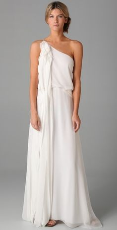 Love this one shoulder white dress from BCBGMAXAZRIA