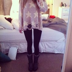 wildfox sweater with leggings, comfy socks, and motorcycle boots