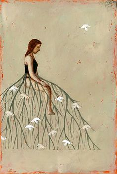 Ofra Amit-02 Girl with branched dress and upside down birds