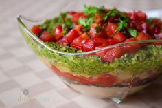Entertain with this luscious Italian Layer Dip, with pesto, peppers, and white beans. Mamma mia!