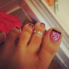 Pink and black French pedi with white flowers- LOVE THIS!
