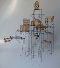 isabell bont, architectur, wire sculpture art, wire art sculpture, paper