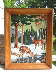 Vintage Paint by Number Deer Winter Scene Framed by cornucopia I painted several  of this type