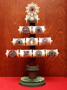 This is a picture of Father Christmas Spool Tree