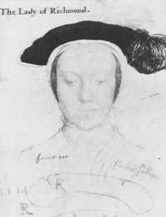 "A sketch by Holbein thought to be of Mary Howard, Duchess of Richmond. Mary was briefly the wife of Henry Fitzroy, Duke of Richmond. Henry was the only acknowledged illegitimate child of King Henry VIII; his mother was Elizabeth ""Bessie"" Blount. Henry VIII appeared to be grooming his bastard son for the throne of England before his untimely ( and some would say suspicious) death. Mary spent the rest of her life trying to secure her financial rights, as the widow of the King's son."