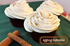 Recipe for Eggnog Spice Cupcakes, PERFECT for Christmas!