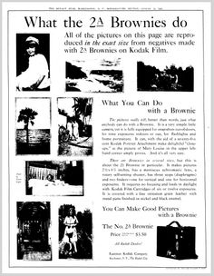 """A 1921 newspaper ad for Brownie cameras from Kodak, published in the Evening Star (Washington, D.C.), 14 August 1921. Read more on the GenealogyBank blog: """"How to Date Old Ancestor Photographs with Early Photo Types."""""""