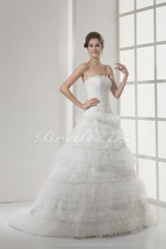 sweep train, ball gowns, gown strapless, train sleeveless