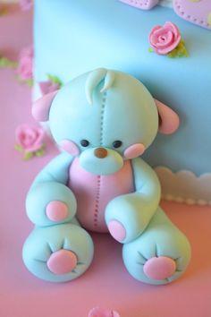 Gumpaste teddy bear Winnie-making it easy for beginners: Naver blog polka dots, deborah hwang, teddi bear, cakes, teddy bears, cake decor, hwang cake, cake baby, bear cake