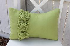 linen rosette pillow