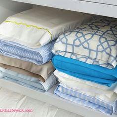 idea, clean, pillow case, linen closet organizing, linen closet organization, sheet set, linen closets, place, fold sheet