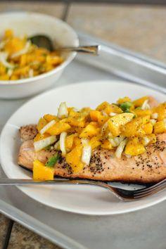 {Grilled Salmon with Orange Mango Salsa}