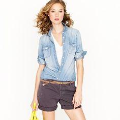 short, jean, chambray shirt, casual summer, j crew