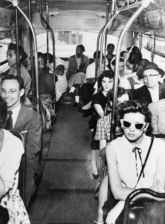 "Segregated Bus, Texas 1956. Another ""splendid"" example of ""Christian charity"" in action, right? unn huh.  :( buses, texa 1956, retro photo, segreg bus, bus ride, black people, texas, white, black histori"