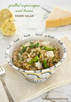 Grilled Asparagus and Lemon Farro Salad {Farmer's Market Friday} | flavorthemoments.com