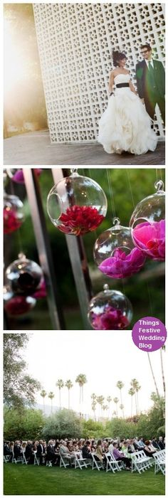 the blown glass globes filled with flowers are perfect for this modern vintage wedding