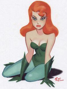 poison ivi, brucetimm, comic, batman, character design, bruce timm, ivy, poisons, line art